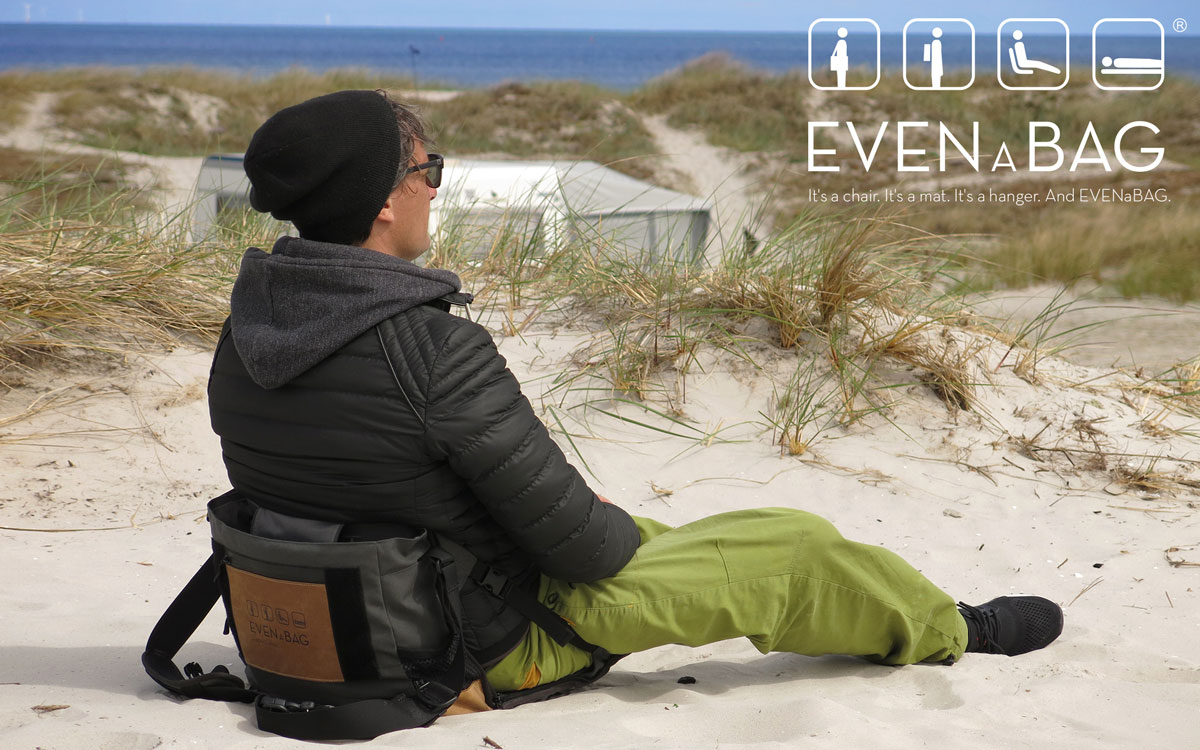 seating at the beach with the evenabag folding camping chair