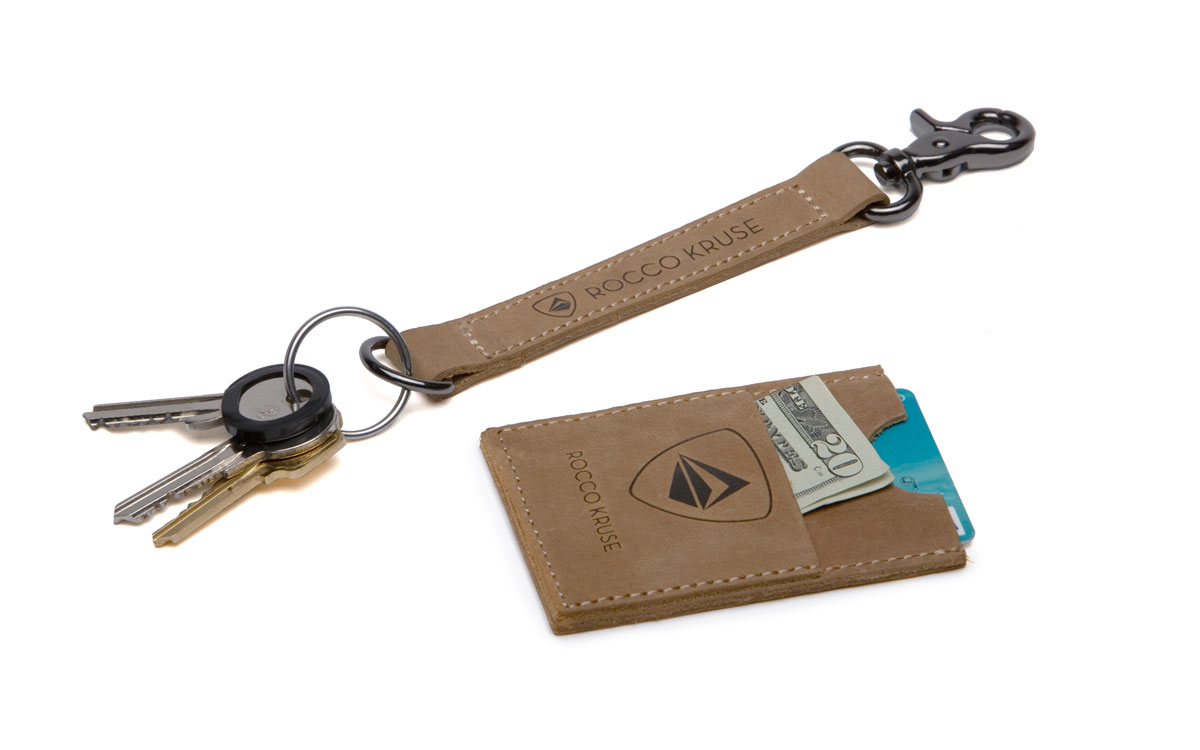 Leather keychain and slim card holder for credit cards