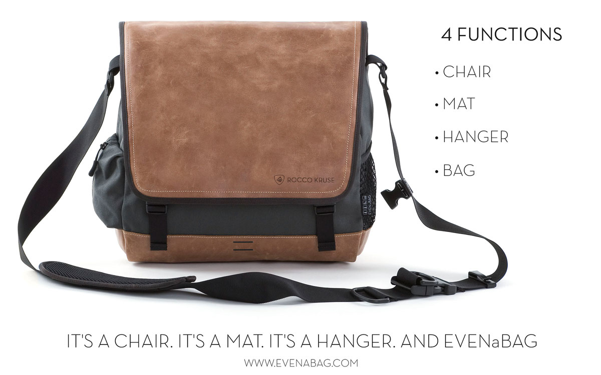 A leather messenger bag with 4 functions