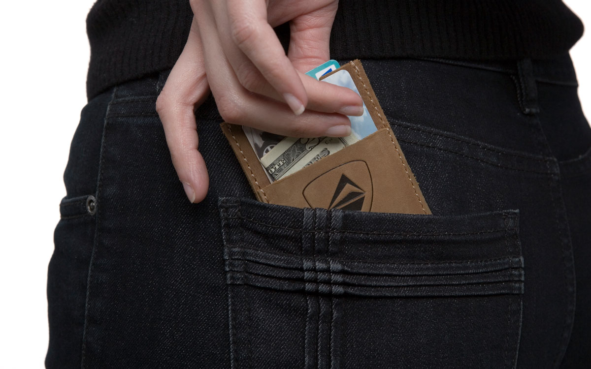 Slim leather card holder for credit cards