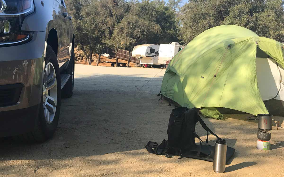 Mit EVENaBAG auf dem Campingplatz im Sequoia National Park, USA