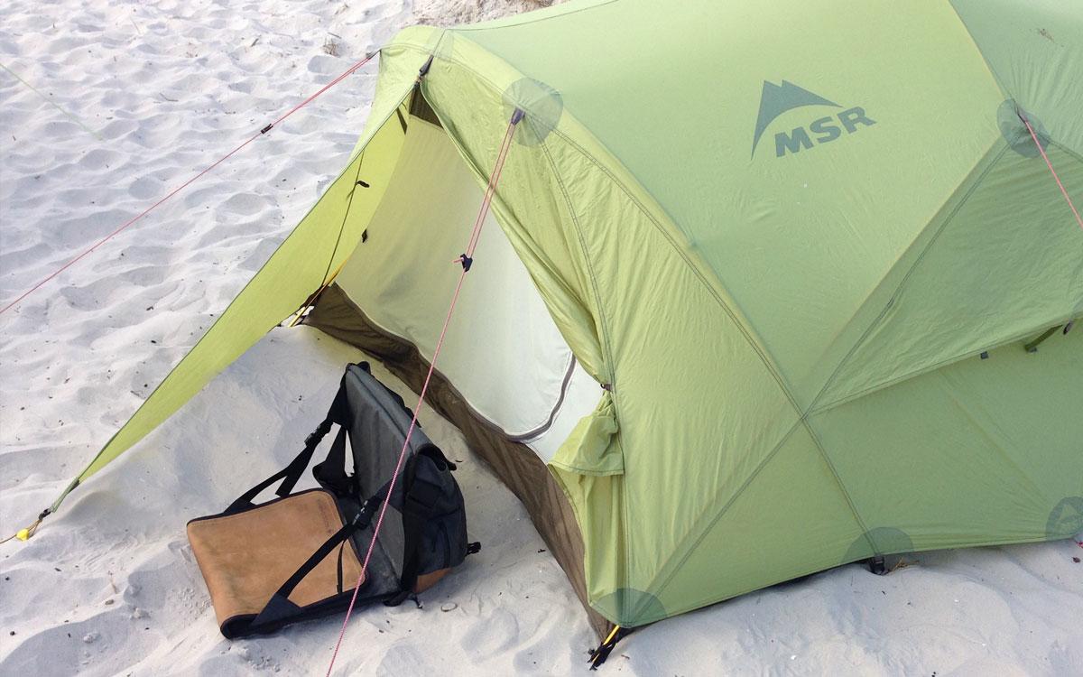 EVENaBAG und MSR Zelt beim Camping an der Ostsee