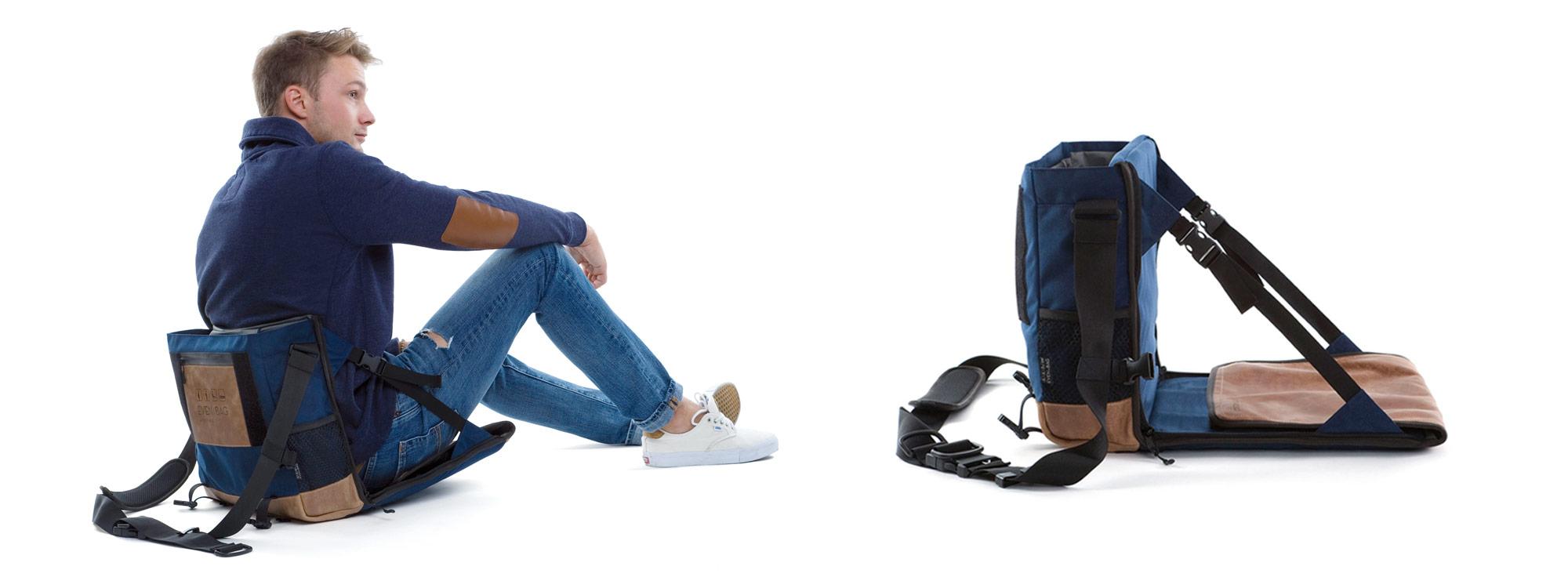 Schultertasche und Faltsitz für Camping und Open Air Konzerte