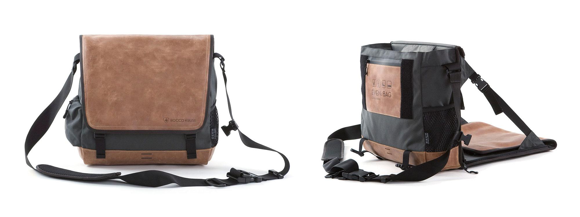 Eine Sitztasche und Umhängetasche tragbar wie ein Rucksack