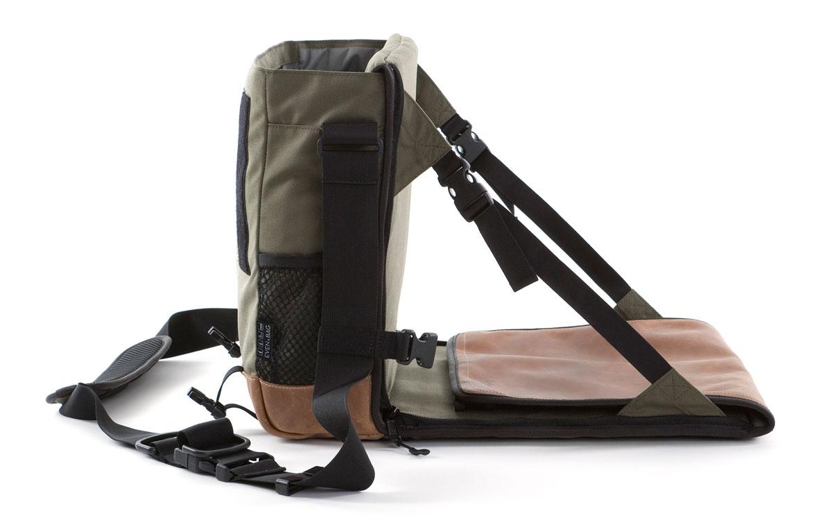Multifunktionstasche als Campingsitz aufgeklappt