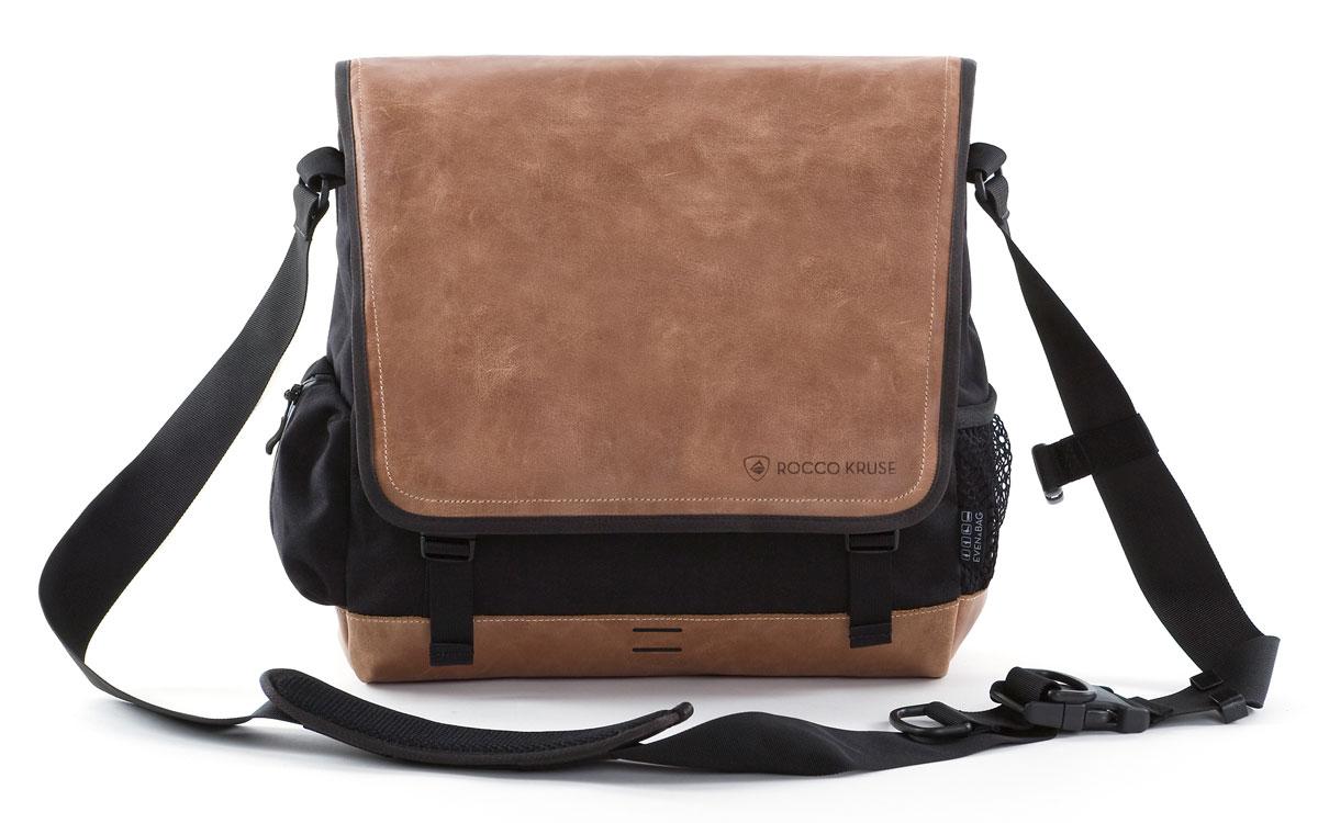 Herrentasche aus Leder und schwarzem cordura
