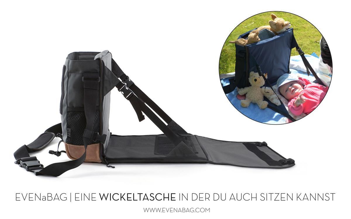 Eine Wickeltasche mit Wickelauflage und ein Campingsitz