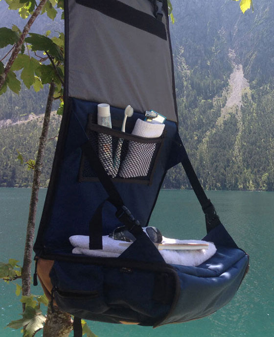 Camping with EVENaBAG toiletry bag at a lake in USA